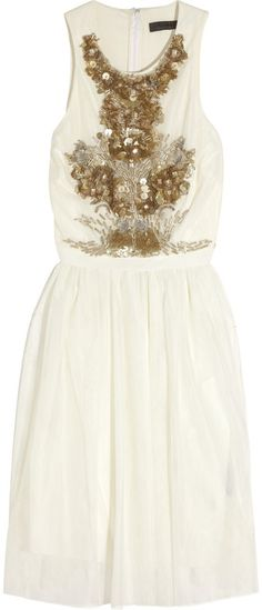 Robert Rodriguez Sequinedembellished Tulle Dress in White