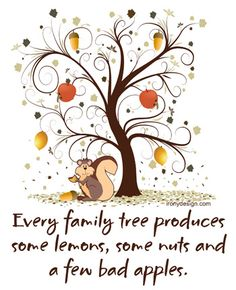 Family Quotes And Sayings | Every family tree produces some lemons, some nuts and a few bad apples ...