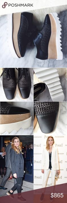 Stella McCartney Elyse Platform Oxfords •A woven upper, woodgrain midsole and crisp white platform lend a richly textured look to a faux-leather oxford that's perfect for transitioning into spring.  •Size 36.5/6.5, true to size.  •Display shoe, like new condition, soles in unworn condition but a few light marks on the woodgrain midsole and toe box. Original box/tags/dust bags NOT included. A designer shoe box will be provided.  •NO TRADES/HOLDS/PAYPAL/MERC/VINTED/NONSENSE. Stella McCartney…