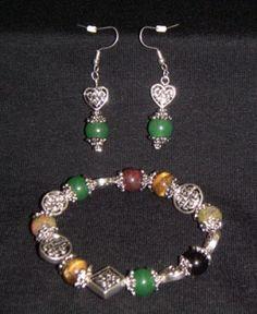 Celtic Jewelry Set - Semi Precious Celtic Knot Stretch Bracelet and Earring Set