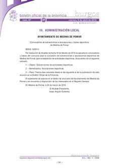 Convocatoria de subvenciones a asociaciones y clubes deportivos de Medina de Pomar
