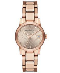 Burberry Watch, Women's Swiss Diamond Accent Rose Gold