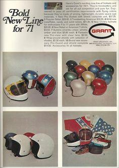 old skool helmets Motorcycle Helmets Motorcycle Shop, Motorcycle Outfit, Motorcycle Helmets, Retro Helmet, Vintage Helmet, Old Advertisements, Advertising, Bell Helmet, Custom Helmets