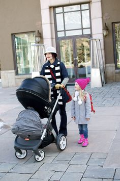 Stokke Crusi with sibling solution seat –a comfy place for a weary toddler to rest!
