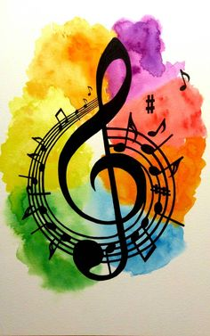 Treble clef print design with vibrant watercolour background A print of an original Vibrant watercolour painting of a treble clef surrounded by music notes. Music is more than just noise. This was inspired by a commission I did recently about m Music Drawings, Music Artwork, Art Drawings, Music Notes Art, Art Of Music, Pop Music, Music Artists, Watercolor Background, Watercolour Painting