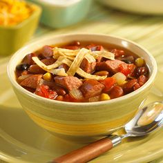 Taco Soup with Smoked Sausage (Substitute Turkey sausage)