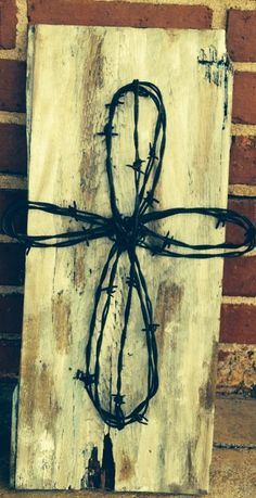 Rustic Barb Wire Cross board on Etsy, $60.00