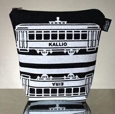 Tram -meikkilaukku // Tram make-up bag (Design by Pisama Design) Fabric Design, Bag Design, How To Make, Inspiration, Home Decor, Diy, Fashion, Biblical Inspiration, Moda
