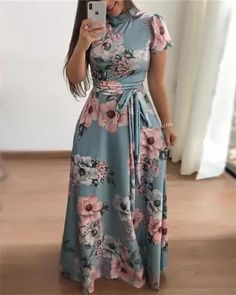 Floral Printed Round Neck Maxi Dress Long Sleeve Short Dress, Maxi Dress With Sleeves, The Dress, Short Sleeves, Belted Dress, Dress Long, Sheath Dress, Vestido Maxi Floral, Floral Print Maxi Dress