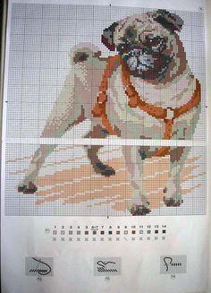 Cross Stitch Charts, Cross Stitch Patterns, Pug Cross, Carlin, Sewing Stitches, Cross Stitch Animals, Cross Stitching, Animals And Pets, Needlework