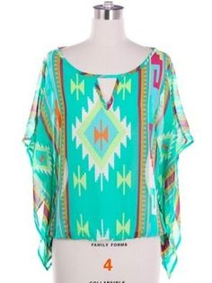 Aztec Print Chiffon Top with Open Sleeve - $29.99 : FashionCupcake, Designer Clothing, Accessories, and Gifts