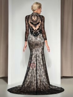 Tidebuy.com Offers High Quality Vintage V-Neck Long Sleeves Beaded Court Train Long Mermaid Lace Evening Dress, We have more styles for Designer Dresses