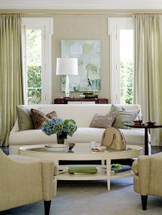 Serene and lovely living room. ~ South Shore Decorating Blog: Manic Monday #7