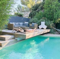 Your pool is all about relaxation. Nonetheless, the pool is really cool by itself and it sure is inviting. Swimming pool and landscape design computer. pool is all about relaxation. Nonetheless, the pool is really cool by itself and it sure is inviting. Backyard Pool Designs, Backyard Patio, Backyard Landscaping, Landscaping Ideas, Backyard With Pool, Backyard Privacy, Modern Backyard, Pergola Designs, Landscaping Around Pool