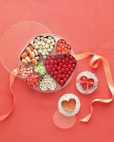Valentine Gift: Tin With Heart-Shaped Candy-Filled Cookie Cutters from Martha Stewart ..... Easy Valentine's Ideas for Kids (or the Crafting Clueless)