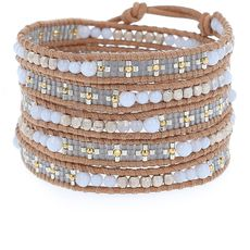 Blue Lace Sectioned Wrap Bracelet on Beige Leather