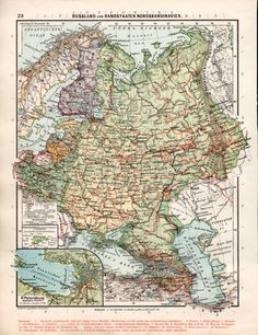 1926 Northern Europe Map Russia Old Map Finland by Craftissimo
