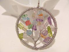 Beautiful silver wire wrapped round pendant with multi colored quartz stones.