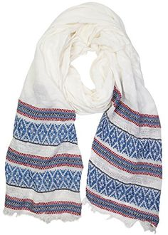 """Funky Junque's Red, White and Blue Woven Tribal Print Textured Stripe Scarf. GREAT LOOK: Beautifully designed, this woven tribal scarf has a tiny fringed edge, giving it a fun feel. No better way to show your love for our Land of Liberty. Dress it up or down and wear with shorts, denim, solids, prints, pants, skirts, dresses and more. GREAT FIT: One size fits most. This woven scarf measures 23"""" by 63"""" making it super versatile and able to easily transition from a scarf to a little shawl. So…"""
