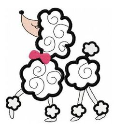 Poodle applique machine embroidery design by FunStitch on Etsy, $4.00