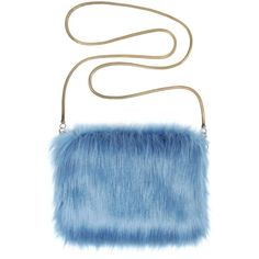 Faux Fur Bag Chain Bag by Helen Moore Marine ($82) ❤ liked on Polyvore featuring bags, handbags, shoulder bags, chain-strap handbags, chain strap handbags, chain purse, chain handle handbags and blue handbags