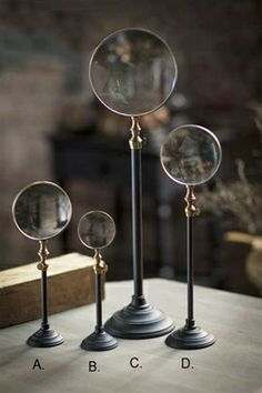 Telescoping Brass Magnifying Stands in Blackened metal and Brass. Could easily attach magnifying glasses to pretty stands/candle sticks Decorative Accessories, Home Accessories, Through The Looking Glass, Magnifying Glass, Architectural Elements, My New Room, Inspired Homes, Home Decor Items, Victorian Fashion