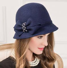 4b397be8cb242 Navy bucket hat with bow for women autumn soft wool fedora hats