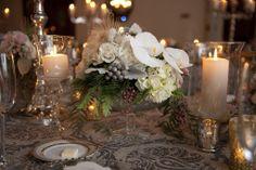 Wintry centerpiece in white & gray #weddings #centerpieces #blisschicago