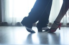 Shoes legs ballroom dance teaches dancers couple stock photo