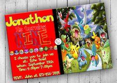 Pokemon Birthday Party Invitation Pokemon by PartyPrintableInvite Pokemon Birthday, Pokemon Party, Boy Birthday, Birthday Parties, Birthday Party Invitations, Rsvp, Bows, Frame, Anniversary Parties