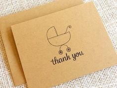 Items similar to Set of 10 Baby Shower Thank You Notes - Simple Kraft Baby Thank You Cards with Baby Carriage Design - Baby Boy Girl or Gender Neutral on Etsy Baby Thank You Cards, Baby Shower Thank You, Thank You Notes, Happy Design, Baby Carriage, Keep It Simple, New Baby Gifts, New Baby Products, How To Draw Hands