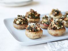Sausage Stuffed Mushrooms Recipe : Rachael Ray : Food Network (make vegetarian with veg. Food Network Recipes, Food Processor Recipes, Cooking Recipes, Healthy Recipes, Protein Recipes, Cooking Food, Simple Recipes, Yummy Recipes, Keto Recipes
