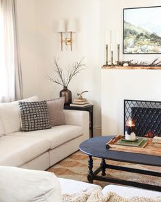 12 Living Rooms We Would Gladly Binge Netflix in | The Everygirl Black And White Pillows, White Walls, I Spy Diy, Dark Furniture, Living Room Decor, Living Rooms, Modular Sofa, Decoration, Interior Design