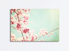 """Floral Photography - spring mint green pink red nursery light nature photography pale pastel wall photo flower photograph, """"Ode to Spring"""" Mint Walls, Pastel Walls, Pastel Artwork, Spring Photography, Floral Photography, Nature Photography, Canvas Wall Art, Wall Art Prints, Red Nursery"""