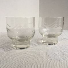 Etched Clear Mid Century Whisky Glasses / Nautical Tall Ships Rocks Glasses / Gift for Dad by vintagepoetic on Etsy