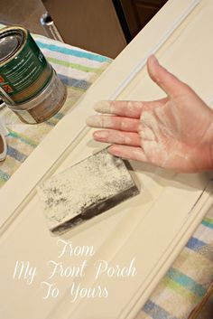 Creating a French Country Kitchen Cabinet Finish Using Chalk Paint.I use a moist sanding block to sand with. It keeps the dust at bay and makes a buttery smooth finish. Country Kitchen Cabinets, Painting Kitchen Cabinets, Kitchen Redo, Mini Kitchen, Kitchen Ideas, Kitchen Cabinetry, Kitchen Layout, Kitchen Backsplash, Kitchen Designs