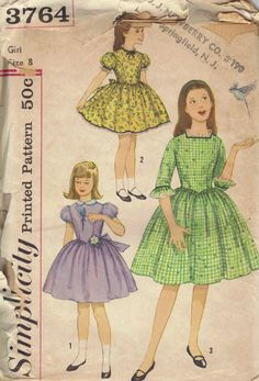 Vintage Simplicity #Sewing #Pattern 60s 50s Rockabilly Swing #Dress Girls Full Flared Skirt Puff Sleeves Pointed Bodice Size 8 via Etsy.