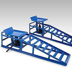 BITUXX® 2 Stück Auto PKW KFZ Auffahrrampen mit Wagenheber Höhenverstellbar Wartungsrampe Hebebühne Rampe: Amazon.de: Auto
