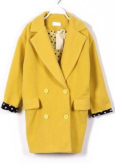 ++ yellow long sleeve wool coat