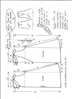 Esquema de modelagem de vestido evasê com gola alta tamanho 36.