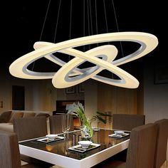 moderne led pendentif lumires cercle suspension luminaire salle manger lampe 3 anneau accrocher la lumire cuisine clairage restaurants c
