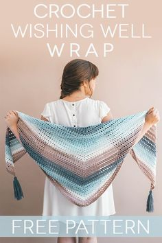 he Wishing Well Wrap is the softly striped, simply made, triangle scarf + wrap that summer nights were made for. It's perfect company around the campfire with a s'more in hand or layered over easy basics for a warm day of shopping. #crochet #howto #diy #lionbrandyarn #mandala #crochetshawl #crochetscarf #crochetwrap #shawl #wrap #scarf #free #freepattern