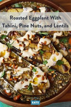 This dish of eggplant roasted until caramelized and tender, served over stewed lentils with an extraordinarily light and creamy tahini sauce and crunchy pine nuts, was dinner and lunch for more meals than I care to count a couple of weeks back. Lentil Recipes, Healthy Recipes, Veggie Recipes, Whole Food Recipes, Vegetarian Recipes, Cooking Recipes, Recipes With Tahini, Pine Nut Recipes, Vegetarian Barbecue