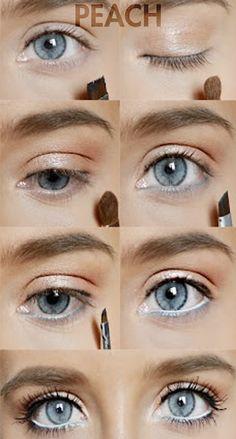 how to: peach eye makeup for blue eyes Rock Makeup, Blue Eye Makeup, Diy Makeup, Beauty Makeup, Makeup Ideas, Makeup Eyeshadow, Clown Makeup, Makeup Glowy, Makeup Light