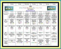 CIZE - Week 1 Workouts and Meal Plan