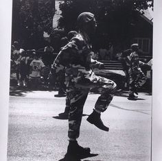 vintage 1980's photograph 11x14 black & white photo art artwork photographer african american men man military soldier retro decorative home by RecycleBuyVintage on Etsy