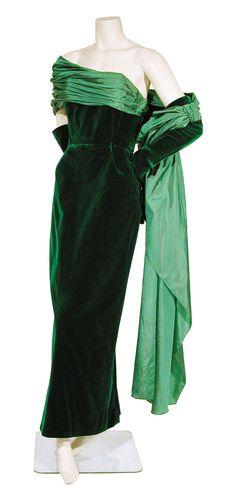Marcel Rochas, Velvet Dress, 1950-1951 cocktail fancy satin swag draping gloves long sheath strapless early 50s designer couture
