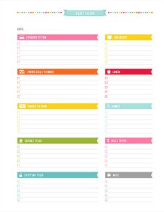Daily to Do Printable PDF Planner Page - instant download