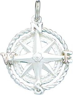 """$29.99 This is a beautiful new Sterling Silver Compass Charm. It is a great gift for yourself or a loved one and makes the perfect addition to any jewelry collection. STYLE- Casted, Open back METAL- Sterling silver ORIGIN- UNITED STATES FINISH- Polished, Satin APPROXIMATE LENGTH- 31.7mm (1.25"""") APPROXIMATE WIDTH- 24.3mm (0.95"""") APPROXIMATE WEIGHT- 4 grams"""