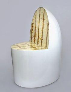 "Joyce Lin, ""Egg Chair"" (2019), spray foam, plywood, plexiglass, body filler, and enamel paint (image courtesy Joyce Lin and the Monacelli Press)"